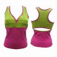 Buy cheap Ladies' Fitness Singlets, 90/10 nylon/spandex, supplex hangtag, 3-needle 5 from wholesalers