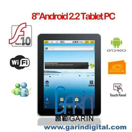 "China China Apad Freescale A8 8"" Google Android 2.2 Flash 3G Wi-Fi MID Tablet PC"
