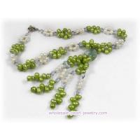 China Green side-drilled pearl and crystal beads rope necklace on sale