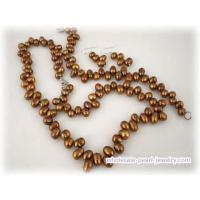 China Hand-kontted 6-7mm freshwater top-drilled pearl jewelry set on sale