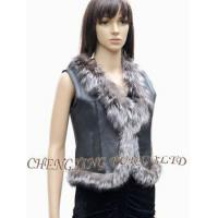Quality CX-G-B-129 Genuine Double Face Sheep Fur Leather Vest for sale