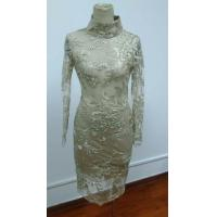China SH-265 Long sleeve sequine lace dress with high collar on sale