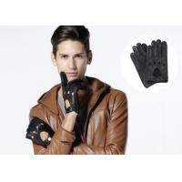 Quality Winter Black Deerskin Leather Driving Gloves for Men with Perforation Holes for sale