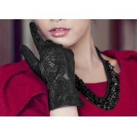 Quality Lace Cuff Black Women Leather Driving Gloves Touch Screen Fashion Style Ladies Gloves for sale