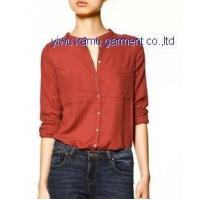 Banded collar blouse shirts two pockets casual fashion shirts for ladies