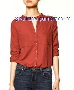 Buy Banded collar blouse shirts two pockets casual fashion shirts for ladies at wholesale prices
