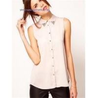 Quality lady chiffon blouse tops woman sleeveless blouses tops for sale