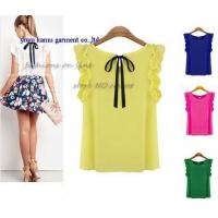 Quality Fashion new design butterfly bow back chiffon blouse tops for ladies for sale