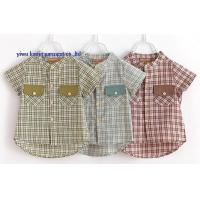 China wholesale fashion boy shirts band collar short sleeve checks shirts for children on sale