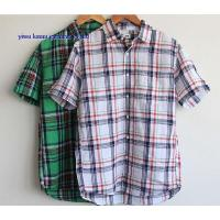 Buy cheap KM-622 Linen checks casual dress shirts mens short sleeve checkd shirts from wholesalers