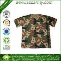 Quality Military clothing Men's 100% cotton camouflage T-shirt with short sleeve for sale