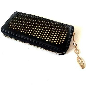 Buy Black with Golden Lining PU Hollowed Checkbook Holder at wholesale prices