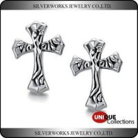 Cheap Wholesale Cool Men's Sterling Silver Celtic Cross Vintage Stud Earrings