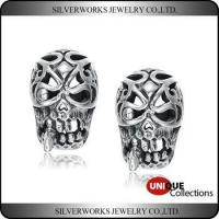China Unique Cool Mens 925 Sterling Silver Fashion Jewelry Piercing Skull Stud Earring on sale