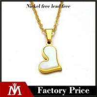 Quality Factory cheap high polishing 18k gold charm stainless steel shell heart necklace jewelry for girl for sale