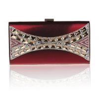 Buy cheap 2014 new wine red crystal PU leather bag elegant lady handbag wholesale from wholesalers