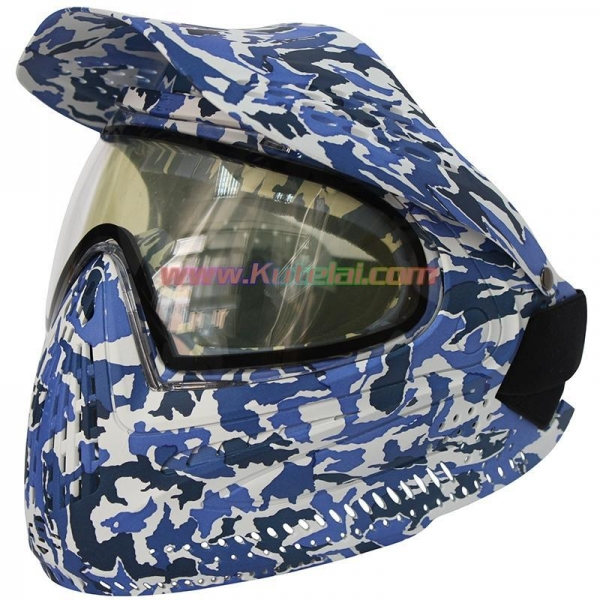 China Protective Mask Navy Blue Anti Fog Paintball Mask with DYE I4 Thermal Lens