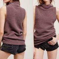 China Hotsale knitted women high-neck daily casual girl sweater Tank Top Sweater Sleeveless Pullover on sale