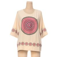 China Ladies' Blouses & Tops OEM Service Heavy Embroidery Half Sleeve Lady Cotton T Shirt on sale