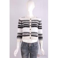 Quality C-002 Crew Neck Womens Structure Knit Cardigan, Autumn warm sweater in stripe pattern for sale