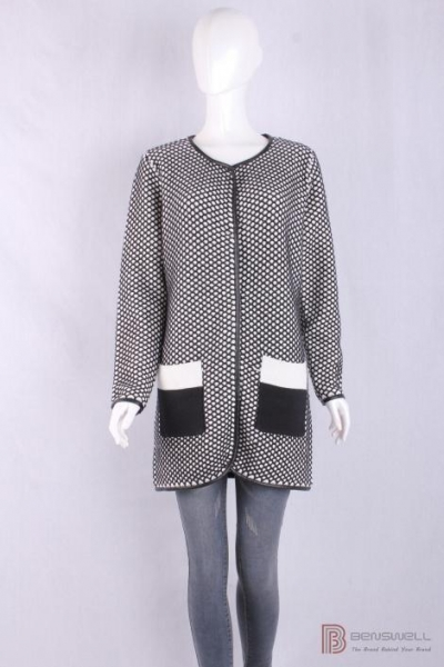 Buy BV-1429 Crew Neck Womens Structure Knit Long Cardigan, Autumn warm sweater with PU piping at wholesale prices