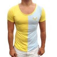 China Blue / Yellow Gold Scoop Neck Dimension Mens T-shirt on sale
