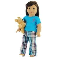 Quality 18-inch Doll Clothes - Plaid Style Pajamas/PJs plus Teddy Bear - fits American Girl  Dolls for sale