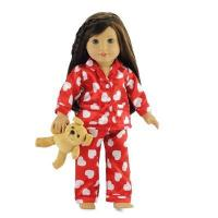 Quality 18-inch Doll Clothes - Red Heart Style Pajamas/PJs plus Teddy Bear - fits American Girl  Dolls for sale