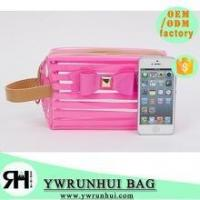 Quality High Quality beautiful PVC cosmetic bag stripped Transparent traveling bag for sale