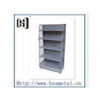 Quality retail store floor merchandise stand up display with shelf and hooks for sale
