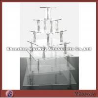 Quality 7 Tiers Square Castle Acrylic/Lucite Cup Cake Display Rack for sale