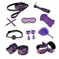 Quality Butterfly 10pc Leather Bondage Set Collar, Paddle, Hogtie, Mask, Rope for sale