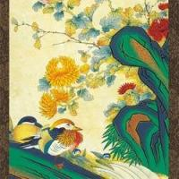 Quality Jeon Sobin Wall Scroll - Mandarin Ducks and Peonies for sale