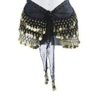 China Plus Size Belly Dancing Hip Scarf - Black/Gold on sale