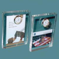 Acrylic Counter Displays Acrylic block with clock for sale