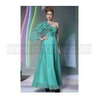 China Green Modest Prom Dress with sleeves & Long Homecoming dress on sale