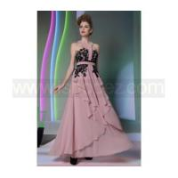 China T-font neckline pink silk tiered long prom dress, halter evening dress with black lace on sale