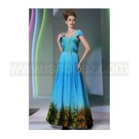Square Neck Cap Sleeves Appliqu Blue Long Formal Evening Dresses With Printed Landscape
