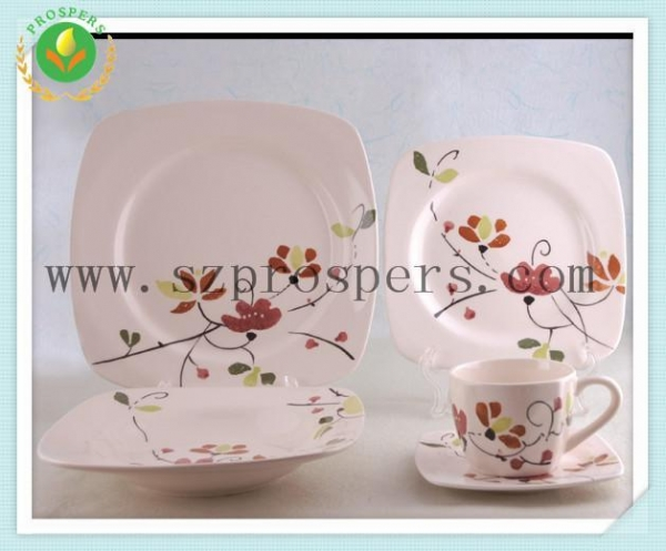 Buy Ceramic dinnerware 20pcs handpainted square set at wholesale prices