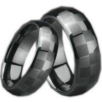 Quality Bridal & Wedding COI Black Tungsten Carbide Checkered Pattern Ring-TG995 for sale