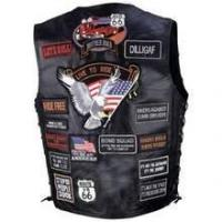 Buy cheap Diamond Plate Rock Design Genuine Buffalo Leather Biker Vest with 42 Patches from wholesalers