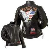 Buy cheap Diamond Plate Ladies Rock Design Genuine Buffalo Leather Motorcycle Jacket from wholesalers