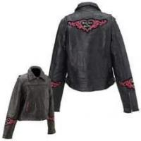 Buy cheap Diamond Plate Rock Design Ladies Genuine Leather Jacket from wholesalers