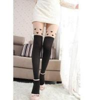China Lovely Hearts Printed Solid Leg Shaping Thigh High Velvet Women Pantyhose on sale