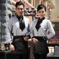 China fashion casual Korea shop clerk uniform,shirt for waiter work wear on sale