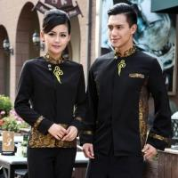 Buy cheap China style auspicious cloud embroidery waiter blouse waitress workwear from wholesalers