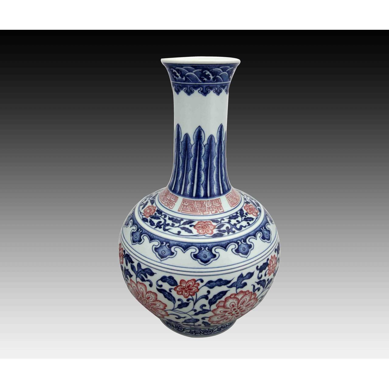 Quality Qianlong-style Blue-and-white Underglaze Red Reward Vase for sale