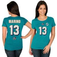 China Dan Marino Miami Dolphins Majestic Women's Hall of Fame Fair Catch Name & Number T-Shirt - Aqua on sale