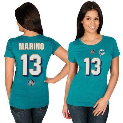 China Dan Marino Miami Dolphins Majestic Women's Hall of Fame Fair Catch Name & Number T-Shirt - Aqua
