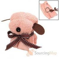 Quality Mini Cartoon Style Puppy Shape Soft Cotton Dog Towel Pink Valentines Gifts for sale